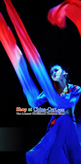 Traditional Chinese Classical Dance Competition Royalblue Costumes Water Sleeve Dance Stage Show Dress for Women