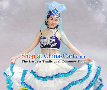 Traditional Chinese Kazak Nationality Dance Costume Ethnic Dance Stage Show White Dress for Women