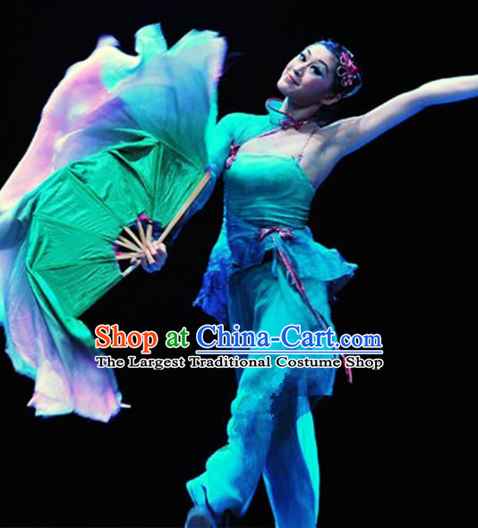 Traditional Chinese Classical Dance Competition Costumes Fan Dance Stage Show Dress for Women