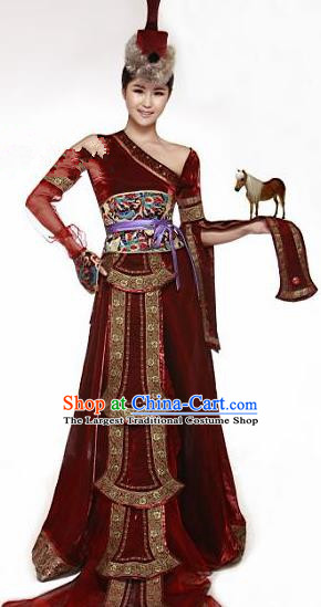 Traditional Chinese Mongol Nationality Dance Costume Mongolian Ethnic Dance Stage Show Dress for Women