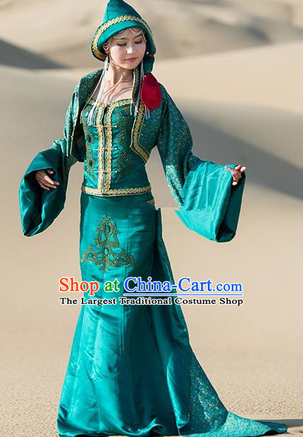 Traditional Chinese Mongol Nationality Green Costume Mongolian Ethnic Stage Show Dress for Women