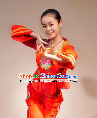 Traditional Chinese Yanko Dance Red Costume Folk Dance Fan Dance Stage Show Dress for Women