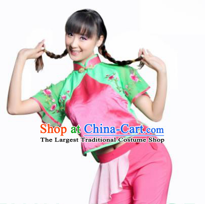 Traditional Chinese Yanko Dance Pink Costume Folk Dance Fan Dance Stage Show Dress for Women