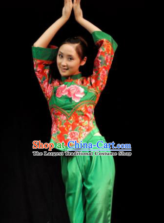 Traditional Chinese Yanko Dance Green Costume Folk Dance Fan Dance Stage Show Dress for Women