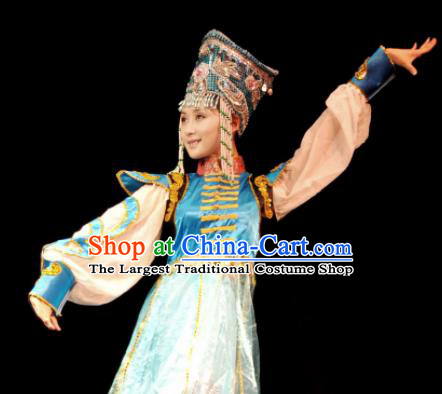 Traditional Chinese Mongol Nationality Blue Costume Mongolian Ethnic Dance Stage Show Dress for Women