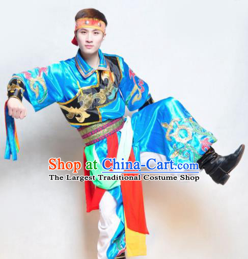Traditional Chinese Mongol Nationality Blue Costume Mongolian Ethnic Dance Stage Show Clothing for Men
