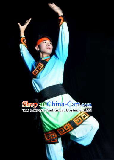 Chinese Traditional Mongol Nationality Blue Costume Mongolian Ethnic Dance Stage Show Clothing for Men