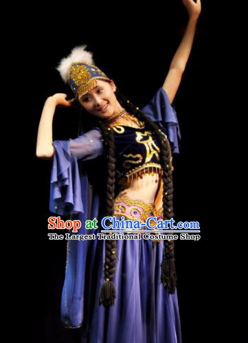 Traditional Chinese Uyghur Nationality Blue Costume Uyghurian Ethnic Dance Stage Show Dress for Women