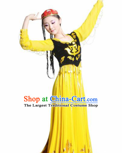 Traditional Chinese Uyghur Nationality Yellow Costume Uyghurian Ethnic Dance Stage Show Dress for Women