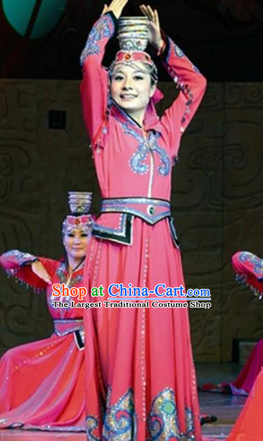 Traditional Chinese Mongol Nationality Bowl Dance Costume Ethnic Stage Show Rosy Dress for Women