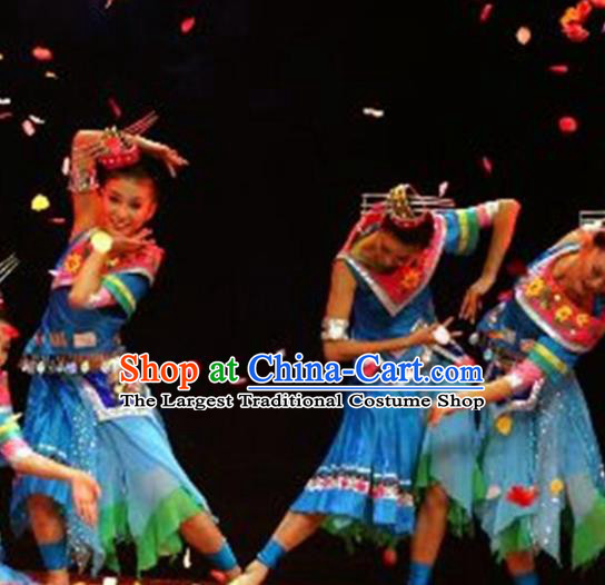 Traditional Chinese Miao Nationality Dance Costume Ethnic Stage Show Blue Dress for Women