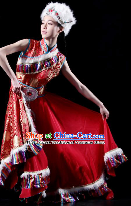 Traditional Chinese Zang Nationality Red Costume Tibetan Ethnic Dance Stage Show Dress for Women