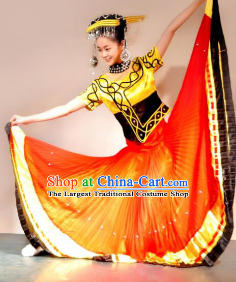 Traditional Chinese Yi Nationality Orange Costume Ethnic Dance Stage Show Dress for Women