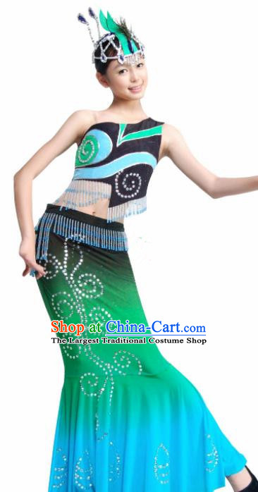 Traditional Chinese Dai Nationality Green Costume Ethnic Peacock Dance Stage Show Dress for Women