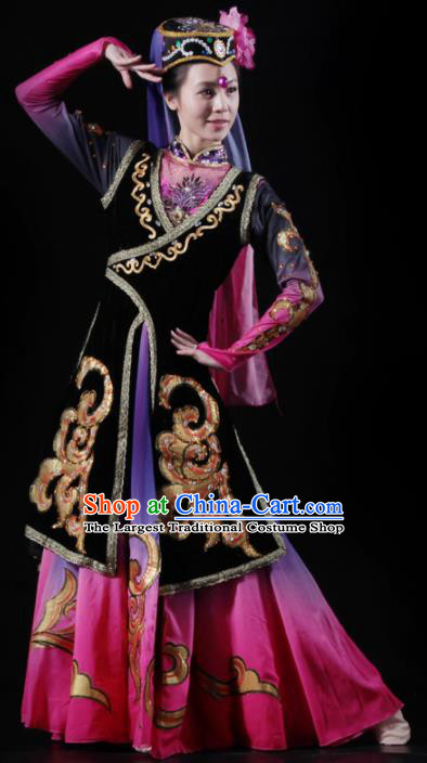Traditional Chinese Uyghur Nationality Costume Uigurian Ethnic Dance Stage Show Dress for Women