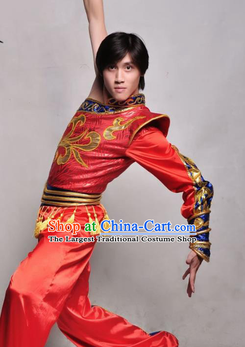 Chinese Traditional Mongolian Nationality Red Costume Mongol Ethnic Dance Stage Show Clothing for Men