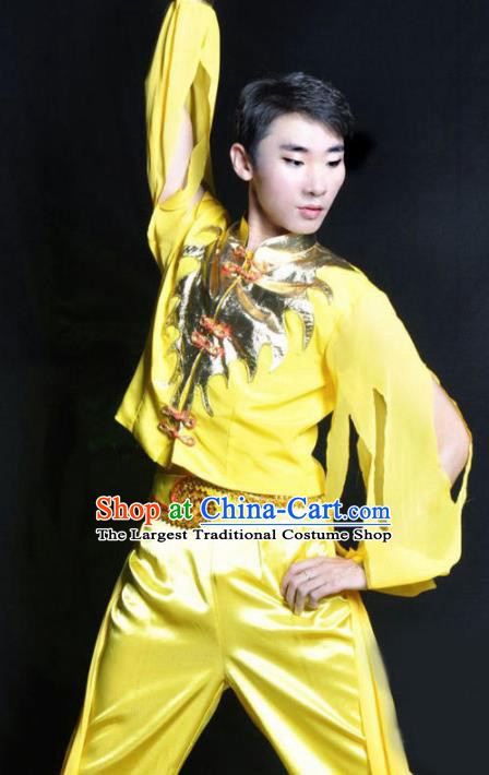 Chinese Traditional Yangko Dance Yellow Costume Folk Dance Stage Show Clothing for Men