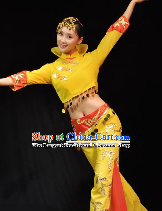 Traditional Chinese Fan Dance Yellow Costumes Folk Dance Yangko Dance Stage Show Dress for Women