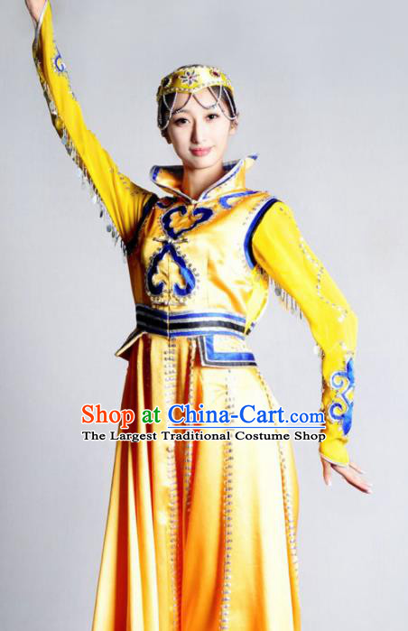 Traditional Chinese Mongolian Nationality Yellow Costume Mongol Ethnic Dance Stage Show Dress for Women