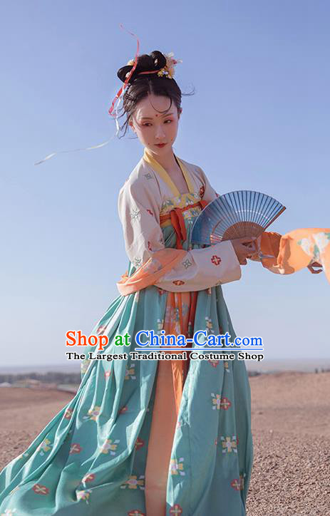 Chinese Tang Dynasty Court Princess Consort Green Hanfu Dress Traditional Ancient Infanta Costumes for Women