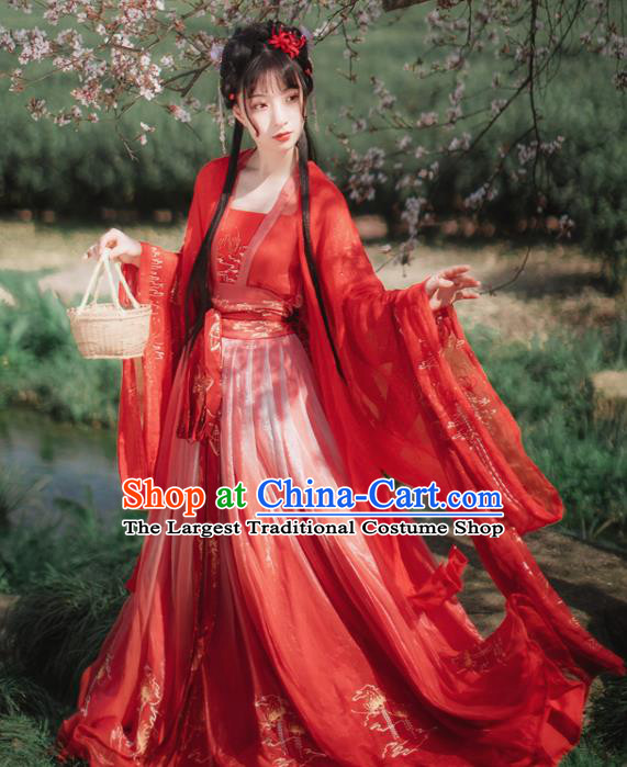 Chinese Tang Dynasty Palace Princess Red Hanfu Dress Traditional Ancient Court Wedding Costumes for Women