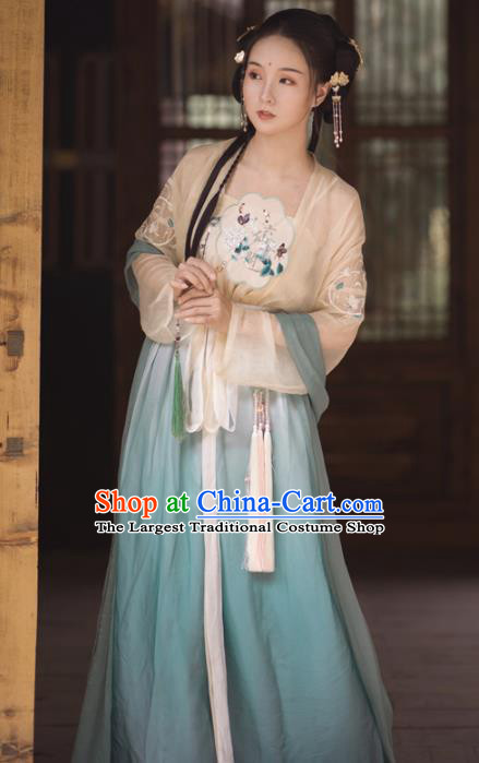 Chinese Song Dynasty Young Lady Hanfu Dress Traditional Ancient Maidservants Costumes for Women
