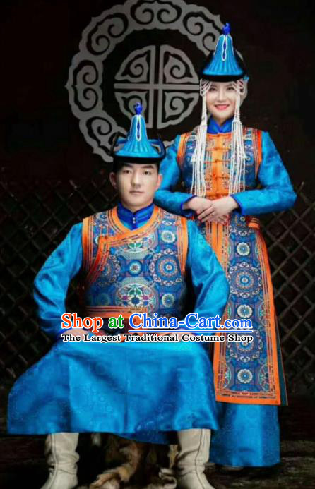 Chinese Traditional Mongol Nationality Costumes Mongolian Ethnic Wedding Clothing Complete Set for Women for Men