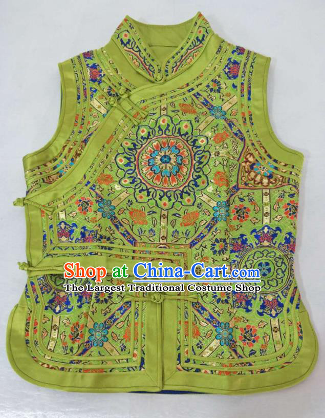 Traditional Chinese Mongol Nationality Green Vest Mongolian Ethnic Stage Show Costume for Women