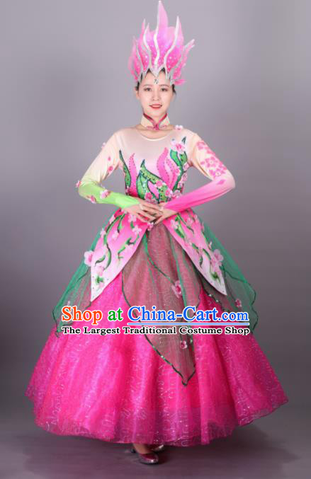Traditional Chinese Spring Festival Gala Dance Rosy Dress Classical Dance Stage Show Costume for Women