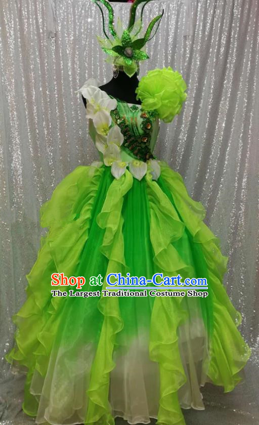 Traditional Chinese Spring Festival Gala Dance Green Dress Classical Dance Stage Show Costume for Women