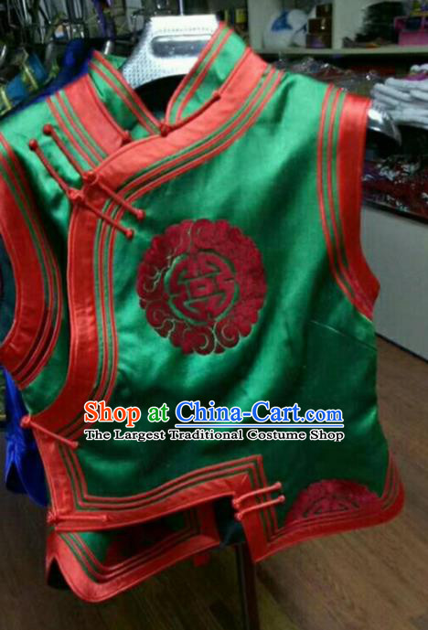 Traditional Chinese Mongol Nationality Green Brocade Vest Mongolian Ethnic Stage Show Costume for Women