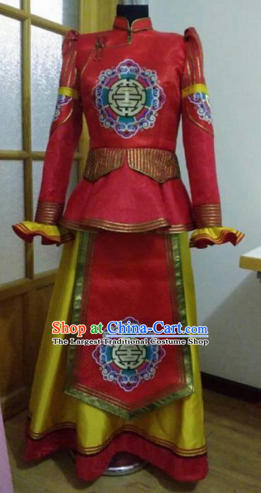 Traditional Chinese Mongol Nationality Red Brocade Dress Mongolian Ethnic Wedding Stage Show Costume for Women