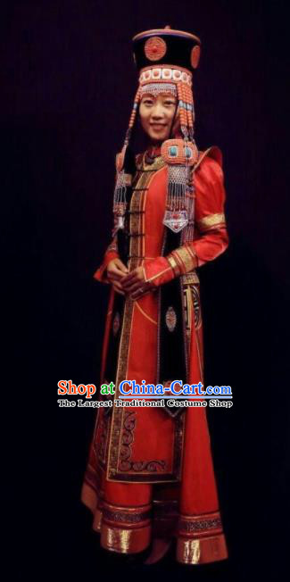 Traditional Chinese Mongol Nationality Bride Red Brocade Dress Mongolian Ethnic Wedding Stage Show Costume for Women