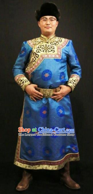 Chinese Traditional Mongol Nationality Costumes Mongolian Ethnic Light Blue Robe for Men