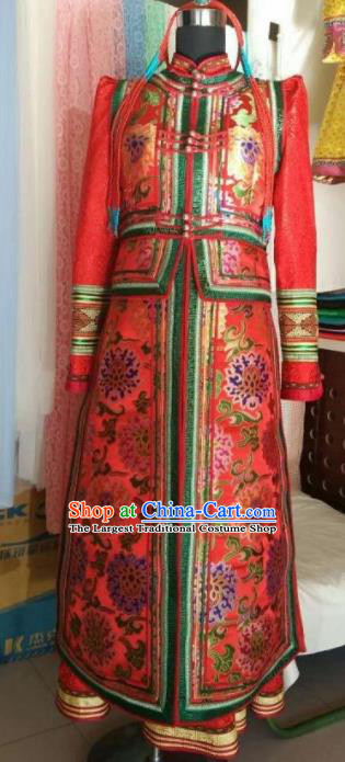 Traditional Chinese Mongol Nationality Wedding Red Dress Mongolian Ethnic Dance Stage Show Costume for Women