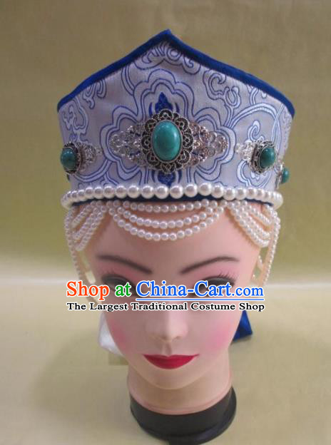 Traditional Chinese Mongol Nationality Hair Accessories Mongolian Ethnic Blue Hat for Women