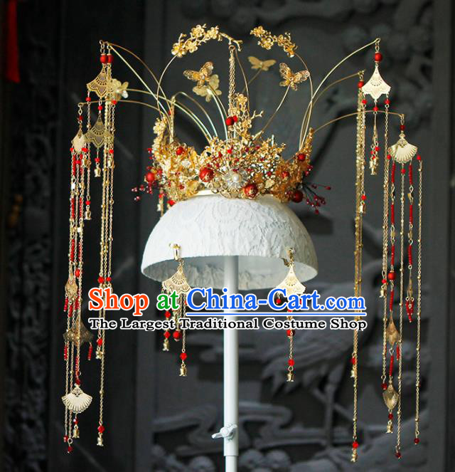 Chinese Traditional Wedding Tassel Phoenix Coronet Hairpins Ancient Bride Hair Accessories for Women