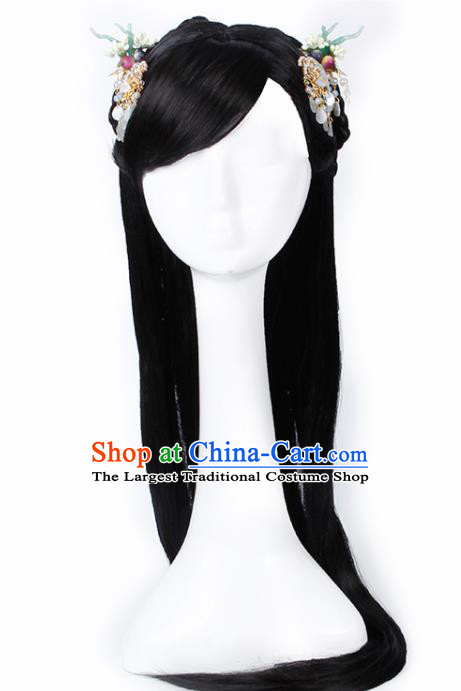 Chinese Traditional Han Dynasty Princess Wigs and Hair Claws Ancient Goddess Hair Accessories for Women