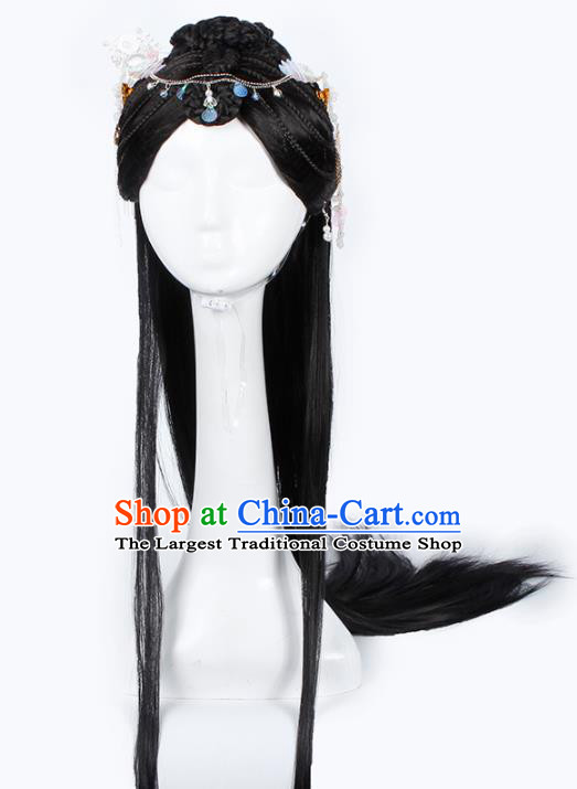 Chinese Traditional Ming Dynasty Palace Princess Wigs and Hairpins Ancient Imperial Concubine Hair Accessories for Women