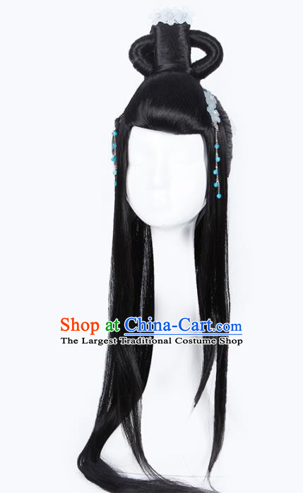 Chinese Traditional Han Dynasty Palace Princess Wigs and Hairpins Ancient Imperial Concubine Hair Accessories for Women