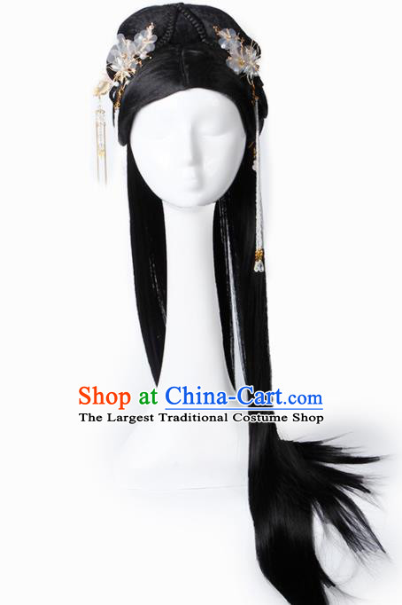 Chinese Traditional Tang Dynasty Palace Princess Wigs and Hairpins Ancient Imperial Concubine Hair Accessories for Women