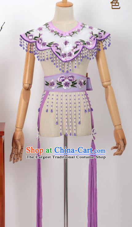 Chinese Traditional Beijing Opera Diva Accessories Purple Shoulder Cape and Belt for Women