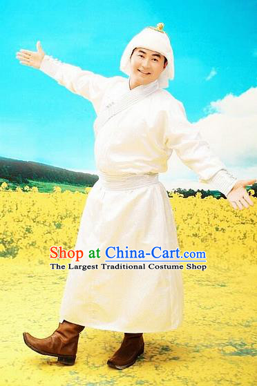Chinese Traditional Mongol Nationality Costumes Mongolian Ethnic White Robe for Men