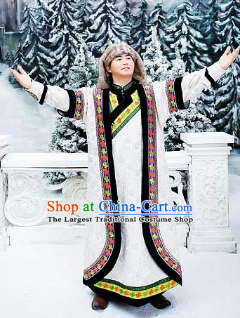 Chinese Traditional Mongol Nationality White Costumes Mongolian Ethnic Prince Robe for Men