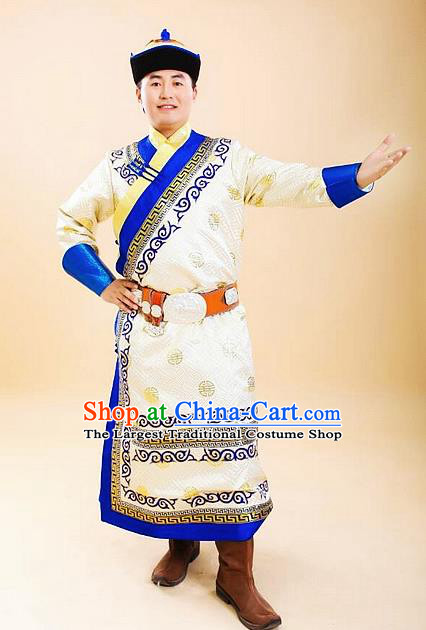 Chinese Traditional Mongol Nationality Costumes Mongolian Ethnic Prince Robe for Men