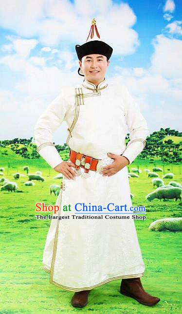 Chinese Traditional Mongol Nationality Costumes Mongolian Ethnic Prince White Robe for Men