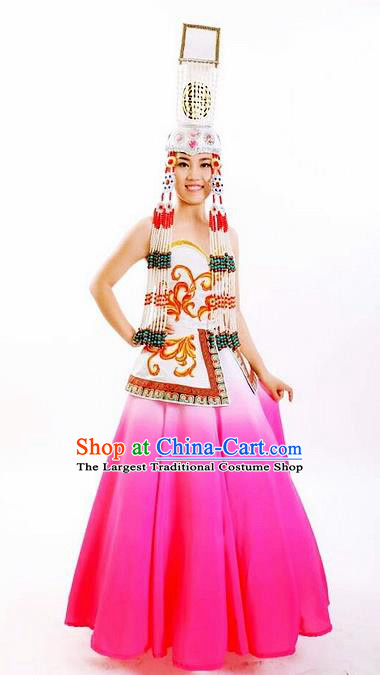 Traditional Chinese Mongol Nationality Stage Show Rosy Dress and Hat Mongolian Ethnic Dance Costume for Women