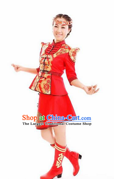 Traditional Chinese Mongol Nationality Stage Show Dress Mongolian Ethnic Dance Costume for Women