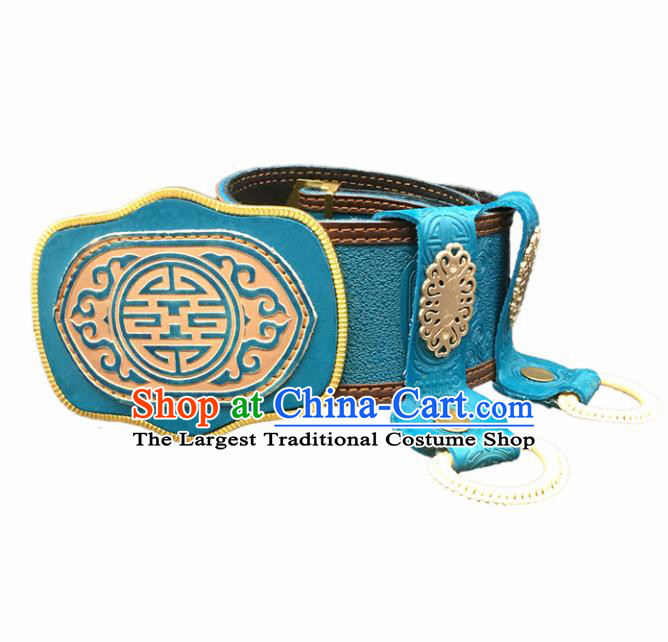 Traditional Chinese Mongol Nationality Blue Leather Belt Mongolian Ethnic Waistband for Men
