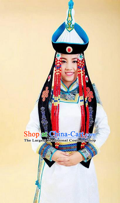 Traditional Chinese Mongol Nationality Wedding White Dress and Hat Mongolian Ethnic Dance Costume for Women